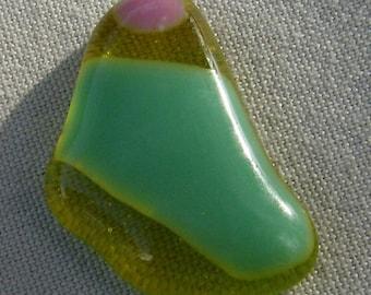 Freie Form Cabochon - gelb grün rosa geschmolzenen Glas von JewelryArtistry - DC359