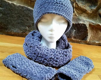 Velour Hat, Scarf, and Fingerless Glove Set