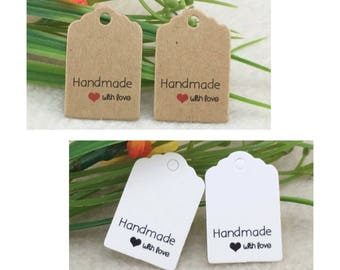 50 Kraft Paper Handmade with Love Tags Gift Tags 3 x 2 cm