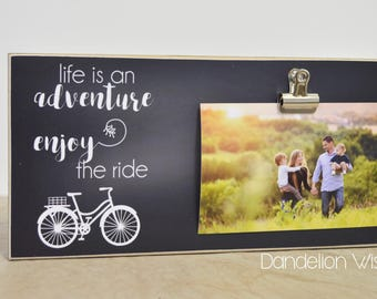 Family Picture Frame Housewarming Gift -Life Is An Adventure, Enjoy The Ride- Photo Frame Gift For Her, Gift For Family, Bike Picture Frame