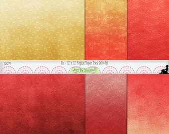 12 x 12 inch Distressed Embossed Red and Gold Florals Digital Scrapbook Paper Pack Instant Download Set of 6 JPEG Commercial Use 1574