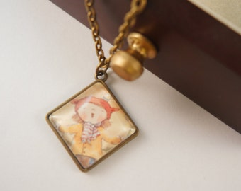 Vintage Inpsired Bronze Cute Girl Necklace