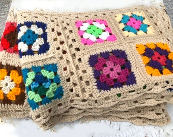 Vintage Colorful Granny Square Crocheted Afghan, Outlined in Tan