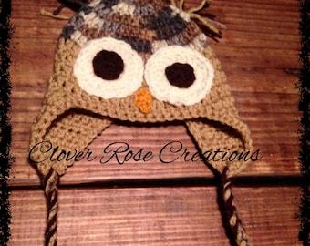 Newborn Owl Earflap Beanie