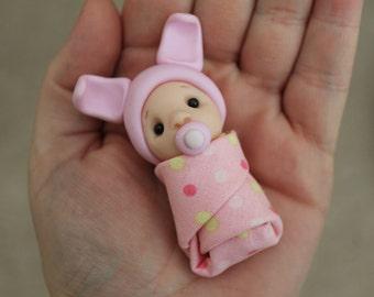 Polymer Clay Baby - Miniature Baby - Mini Clay Baby - Fairy Garden Accessory - Terrarium Accessory – Cake Topper – Garden Decoration