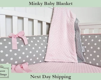 Minky Baby Blanket - Pink and Gray minky dot