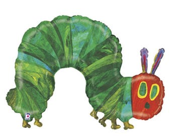 "Very Hungry Caterpillar Balloon Huge 43"" Foil Mylar Balloon Holographic Balloon The Very Hungry Caterpillar"