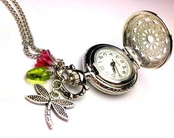 Pocket Watch Necklace - Steampunk Pocket Watch - Silver Pocket Watch - Dragonfly - Spring - For Girls - For Her - Pocket Watch For Her