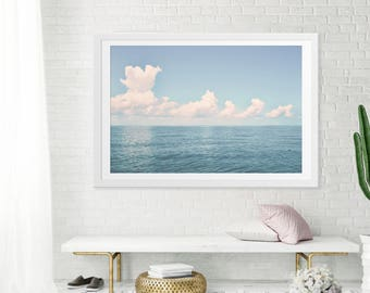 "Oversize Art // Large Wall Art // Nautical Theme Ocean Photography // Large Ocean Prints for a Modern Living Room // Ocean Teal  ""Out There"""