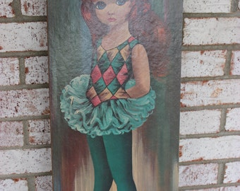 Vintage Retro Print Picture Painting Young Girl 60's 70's Dance Costume Red Hair Tutu Ballerina