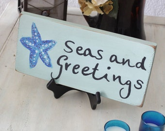 seas and greetings Christmas sign, beach holiday decor, coastal holiday plaque, holiday beach theme decor, starfish sign, Christmas plaque