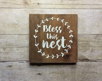 Bless This Nest / Wood / Sign / 7x7 / White / Paint / Brown / Stain / Home Decor / Gallery Wall / Farmhouse / House Warming / Gift