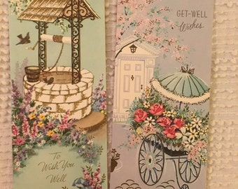 Vintage Get Well Cards, Floral, Get Well Soon, Wishing Well, Unused Cards