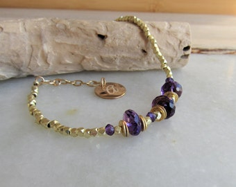 Amethyst Quartz Bracelet, Personalized Gift, Birthstone Jewelry, February Birthstone, Dainty Stone Bracelet,Gold Bracelet,Friendship Jewelry