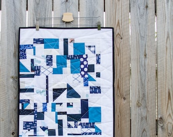 Modern Mini Quilt, Quilted Wall Art, Quilted Wall Hanging, Improv Quilt, Improv Mini Quilt, Modern Improv Quilt, Blue and White Mini Quilt