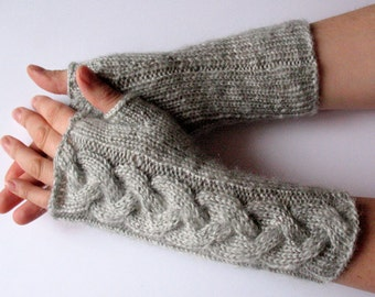 "Fingerless Gloves Arm Warmers Light Grey Dove 10"" Mittens Knit, Soft Acrylic Mohair"