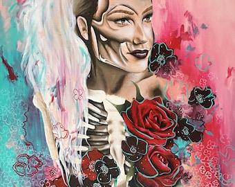 "Harley Quinn Inspired Skeleton Acrylic Painting 22""x 28"""