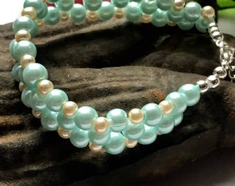 Woven bracelet, Baby blue and Ivory woven bracelet, Pale blue bracelet, Blue and Ivory bracelet