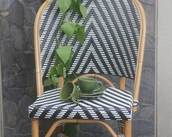 Rattan Black Andwhite French Bistro Chair/ Black Andwhite Chairs/restaurant  Chairs Barstools Dining Chairs