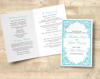 "Wedding Program Printable, Folded Booklet Order of Service, Wedding Template Program Timeline INSTANT DOWNLOAD ""Forever Flourish"" Turquoise"