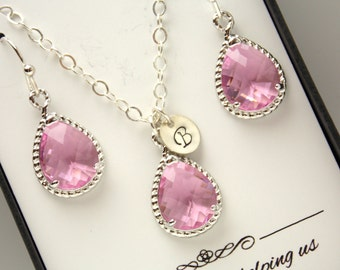 Pink Earring and Necklace Set, Pink Jewelry Set, Personalized, Rose, Initial, Sterling Silver, Pink Bridesmaid Jewelry Set, Bridesmaid Gifts