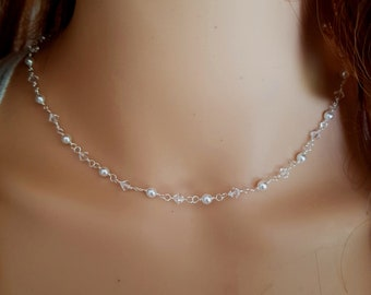 SWAROVSKI crystal bridal choker necklace Sterling Silver Tiny crystal and pearl bead necklace simple wire wrapped wedding jewelry necklace
