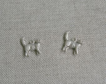 Set of 2 cats in 3D, silver, cat charm, pendant, charm