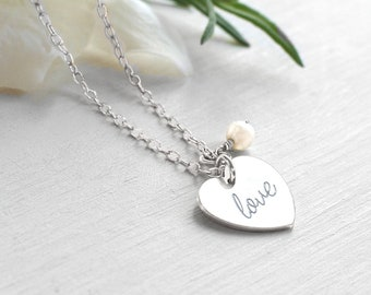 Personalised Sterling Silver 'love' Heart and Freshwater Pearl Pendant Necklace for brides, wedding jewellery, bridal jewellery,
