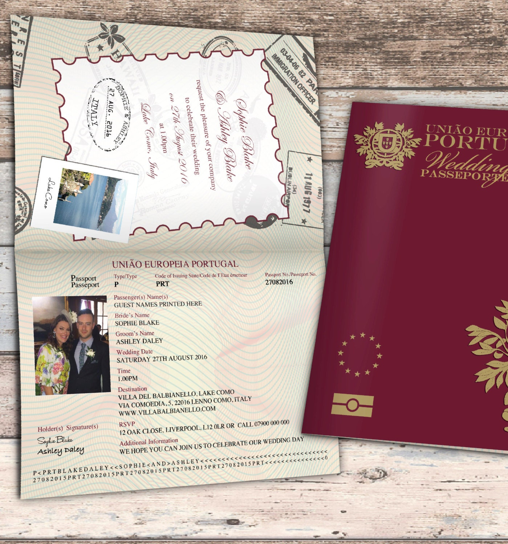 Personalised Passport Wedding Invitations Portugal Portuguese