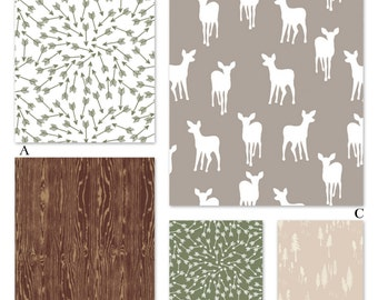 Boy Woodland Crib Bedding in Crib Baby Bedding in Mod Deer, Forest Fables Collection