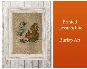 Baby Little Bunny Rabbits Vintage  - Print Poster Jute Burlap Hessian Fabric wall Art Home Decor