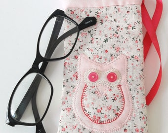 owl sunglasses case/pink owl glasses case/floral glasses case/pink sunglasses case/pink floral owl case/sunglasses sleeve/glasses pouch