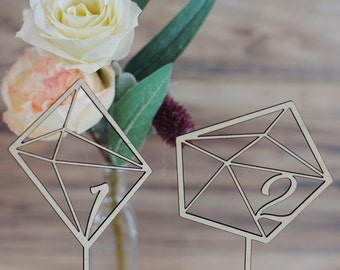 Asymmetrical Geometric Table Number Signs Version 2