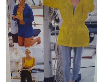 Sporting Apparel Pattern, Bodysuit, Anorak, Jacket, Midriff Top, Athletic Pants, Shorts, Vogue No. 7092 UNCUT Size XS S M or L XL