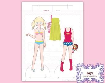 Faye, Dress-Up Paper Doll-Printable PDF Download