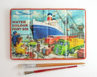 Vintage Watercolor Paint Box - Large Tin Box - Metal Storage Box Made in England Nautical Decor - Important Paper Organizer Kids Wall Decor