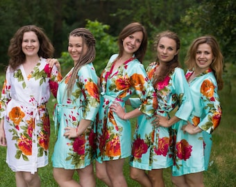 Mint Large Floral Blossom Silk Bridesmaids robes | Kimono Style getting ready robes, Satin Robes, gifts, Bridesmaid Robes, Silky Robes