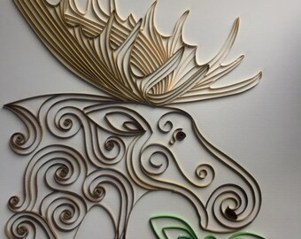 Handmade Quilled Paper Moose Art framed