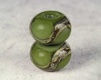 Army Green Handmade Lampwork Glass Beads, Lampwork Bead Pair,  Handmade Lampwork, Green Beads, Organic Web, Glossy 11x7mm Army Green