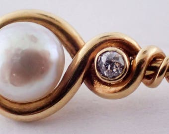 Natural Pearl and Diamond Stickpin Wrapped in Twisted 18K Yellow Gold, Circa 1860