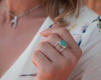 Aqua Chalcedony Ring * Sterling Silver 925 * Statement * Gemstone * Bycila *Handmade * November* December Birthstone *Sagittarius BJR032