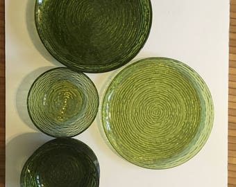 Anchor Hocking Soreno Avocado Green Dinner Plate 4 Dinner Plates 7 Bowls