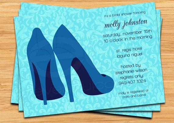 Blue shoes bridal shower invitation filmwisefo Images