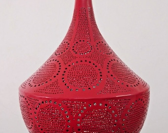 B263 Tin Mosaic Moroccan Lampshade Hanging Lamp White/Red/Silver