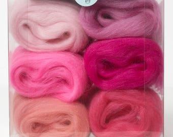 Felting Wool-Merino Wool tops Shade Pack-Pink 30grams