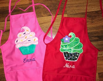Personalized Cupcake apron with 3 pockets. Will be customized to your liking.
