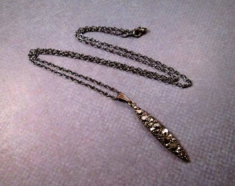 Black Rhinestone Pendant Necklace, Brass Pave Bar Necklace, Gunmetal Silver Necklace, FREE Shipping U.S.
