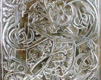 Letter B wall art, Pewter monogram