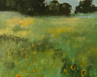 Acrylic Painting, Original Art, Abstract Landscape, Fine Art, Wall Decor, Texas Wildflower Study