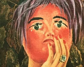 Frida Kahlo-Frida-Art-Portrait-Vintage-Postcard-The Mask-Mexico-Surrealism-Home decor